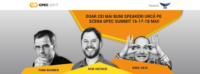 Tomi Ahonen, Rob Siefker (Zappos) si Karl Gilis pe scena GPeC SUMMIT 16-17-18 Mai 2017