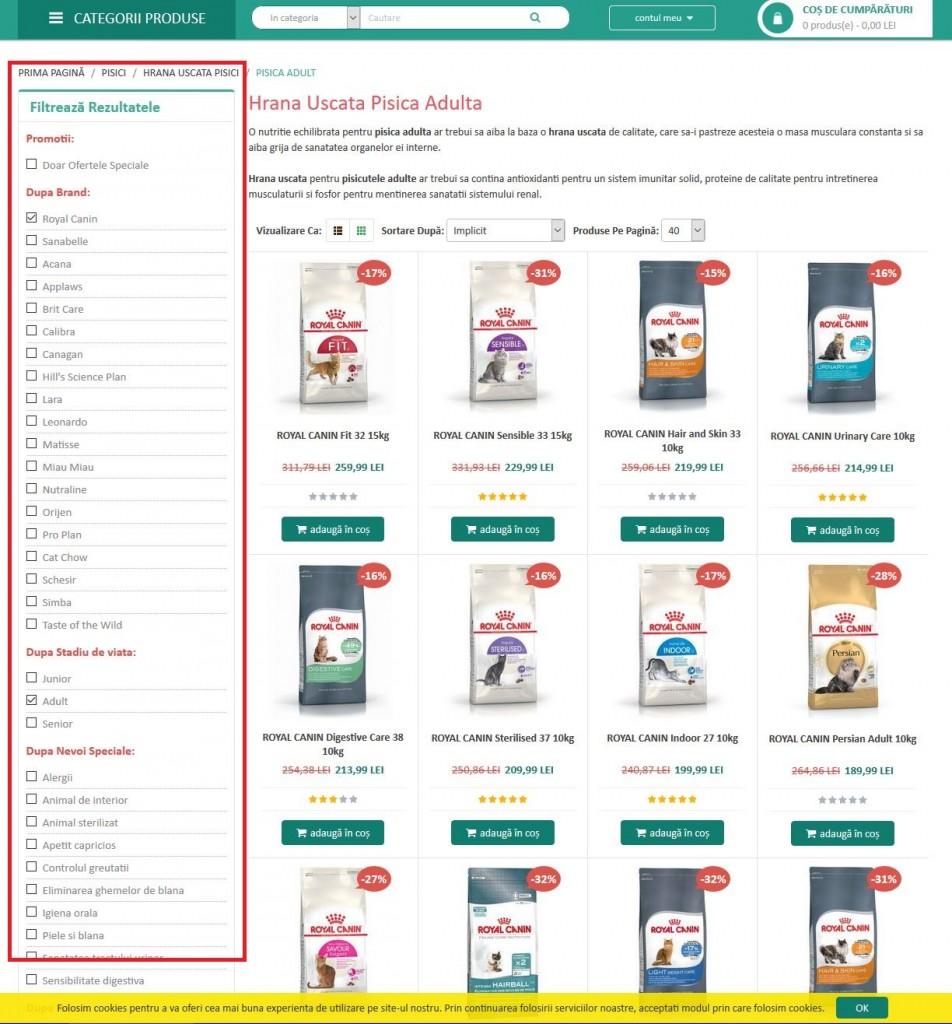 Criteriile de evaluare GPeC - audit de site - pagina de categorie - filtre sticky